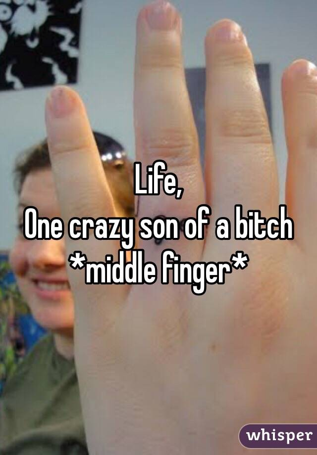 Life,  One crazy son of a bitch  *middle finger*