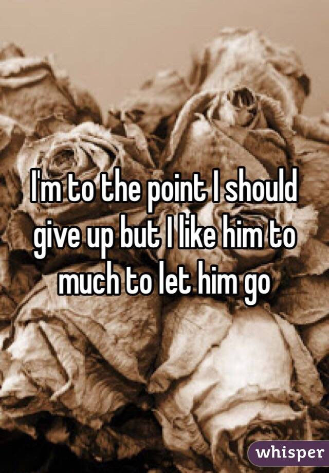 I'm to the point I should give up but I like him to much to let him go