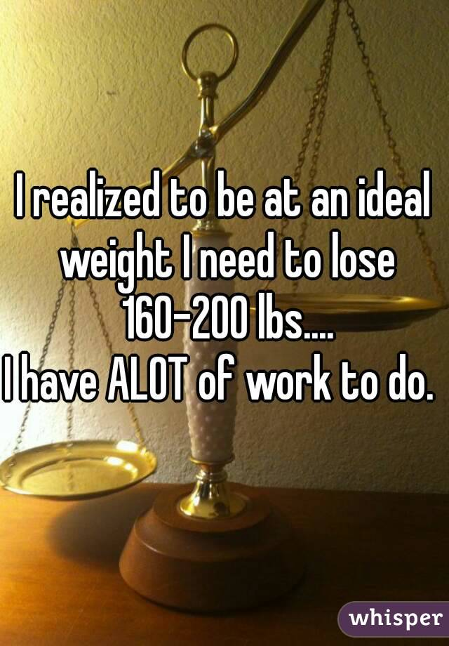 I realized to be at an ideal weight I need to lose 160-200 lbs.... I have ALOT of work to do.