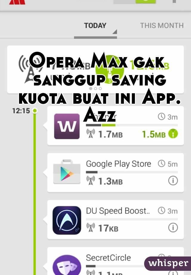 Opera Max gak sanggup saving kuota buat ini App. Azz