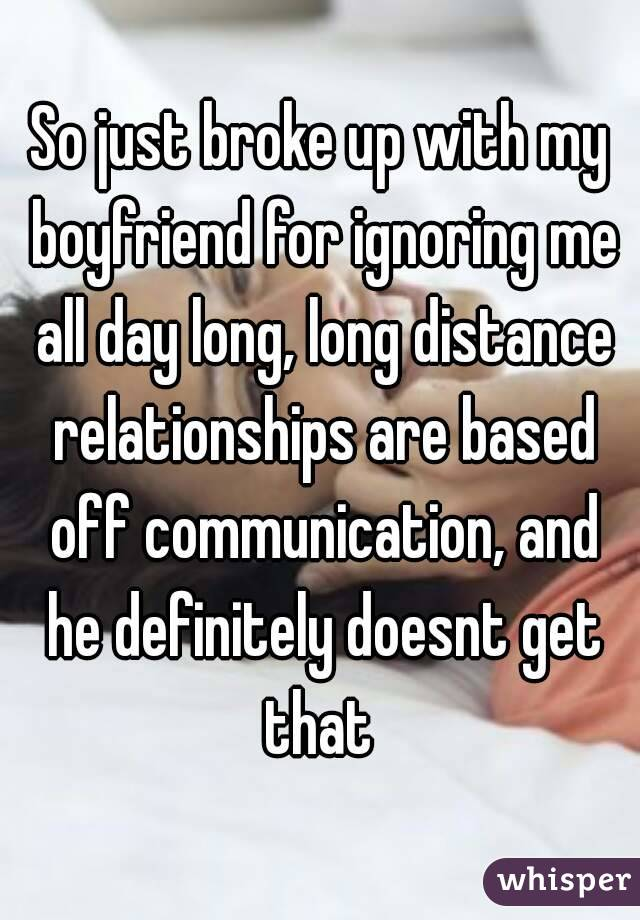 long distance girlfriend ignoring me