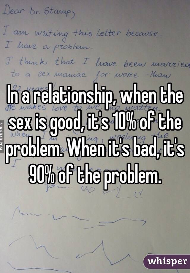 Bad sex in a relationship