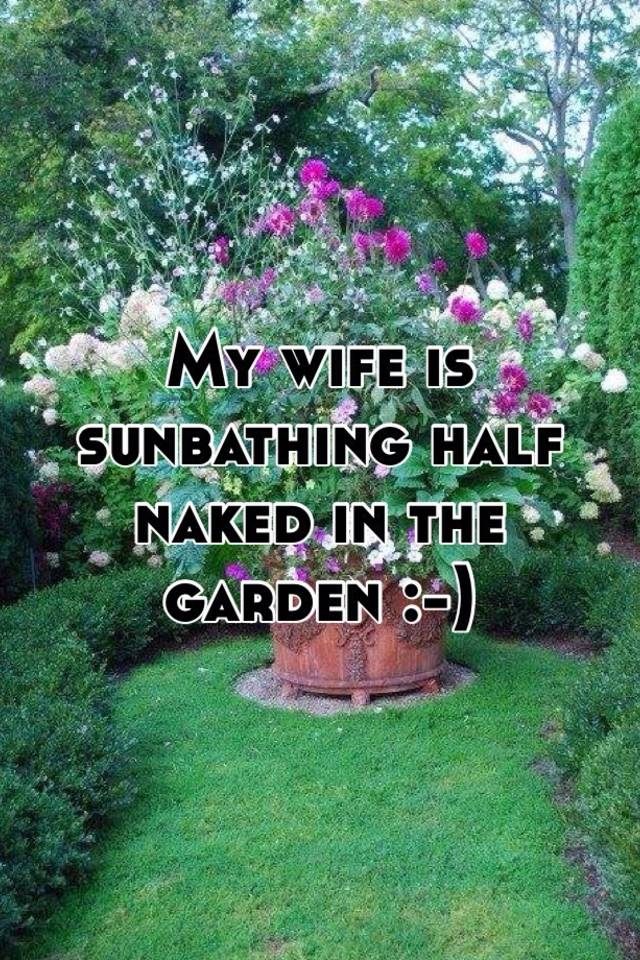 Wife Sunbathing In Garden