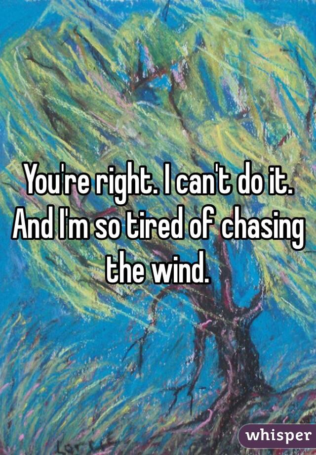 You're right. I can't do it. And I'm so tired of chasing the wind.