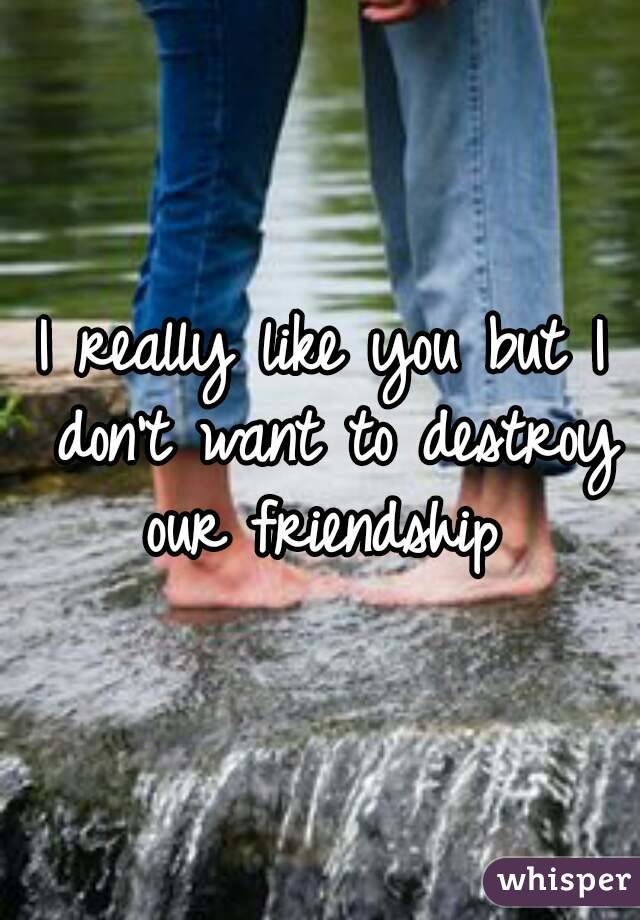 I really like you but I don't want to destroy our friendship