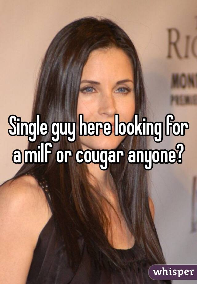 Single guy here looking for a milf or cougar anyone?