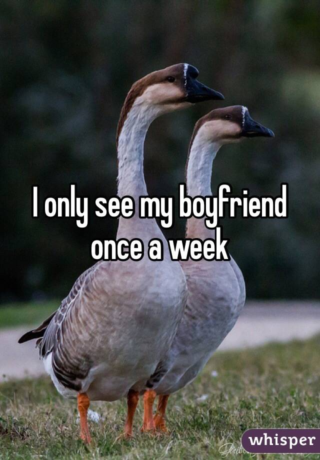 I only see my boyfriend once a week