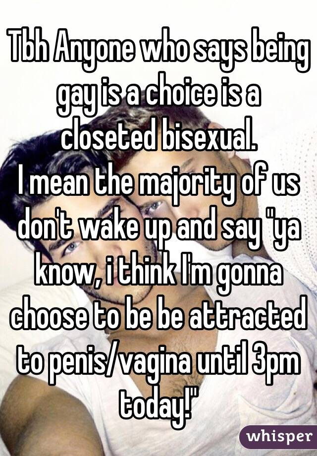 """Tbh Anyone who says being gay is a choice is a closeted bisexual. I mean the majority of us don't wake up and say """"ya know, i think I'm gonna choose to be be attracted to penis/vagina until 3pm today!"""""""