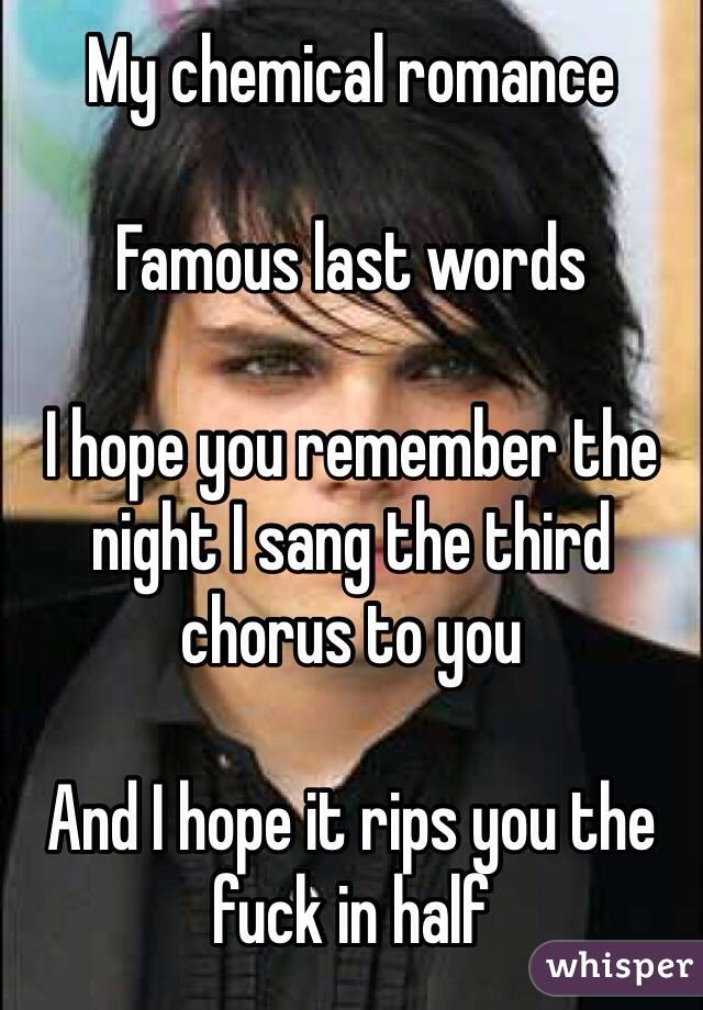 My chemical romance  Famous last words  I hope you remember the night I sang the third chorus to you  And I hope it rips you the fuck in half