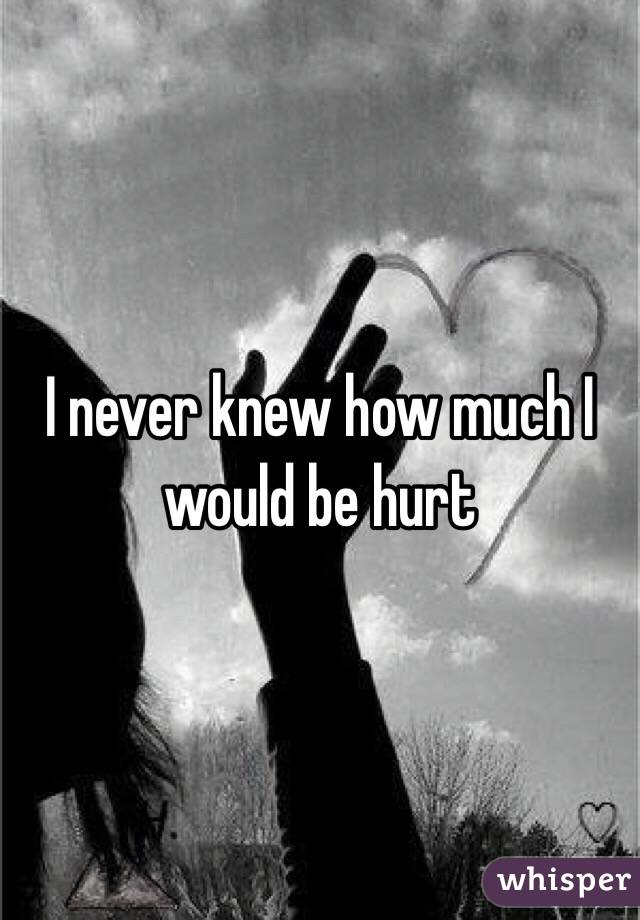 I never knew how much I would be hurt