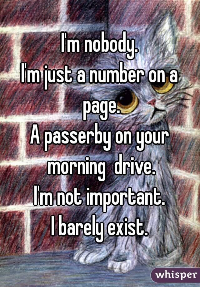 I'm nobody. I'm just a number on a page. A passerby on your morning  drive. I'm not important. I barely exist.
