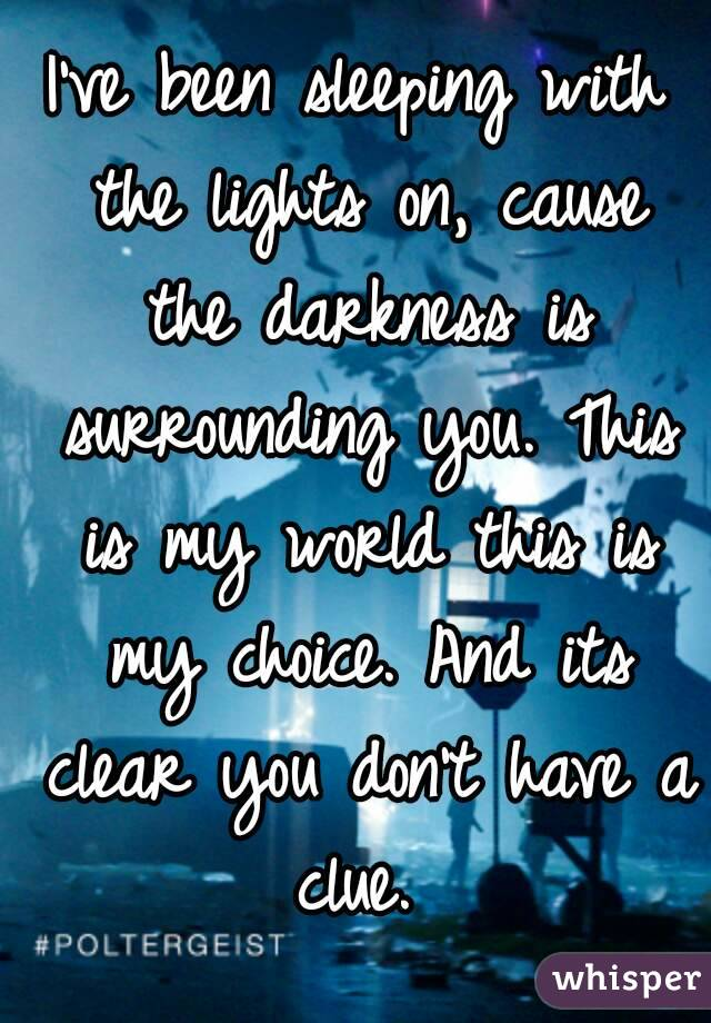 I've been sleeping with the lights on, cause the darkness is surrounding you. This is my world this is my choice. And its clear you don't have a clue.