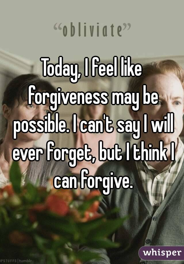 Today, I feel like forgiveness may be possible. I can't say I will ever forget, but I think I can forgive.