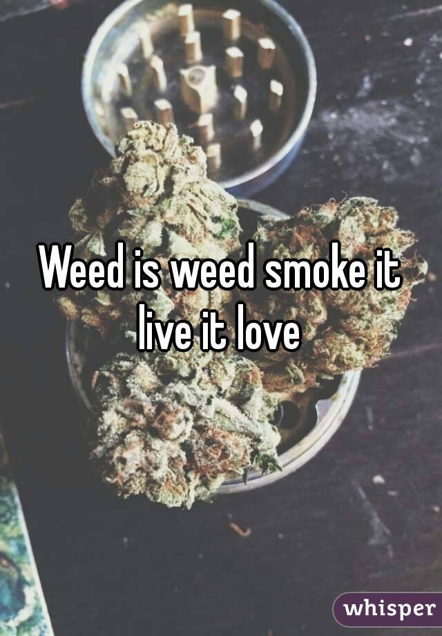 Weed is weed smoke it live it love