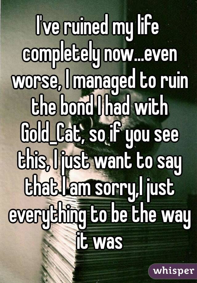 I've ruined my life completely now...even worse, I managed to ruin the bond I had with Gold_Cat, so if you see this, I just want to say that I am sorry,I just everything to be the way it was