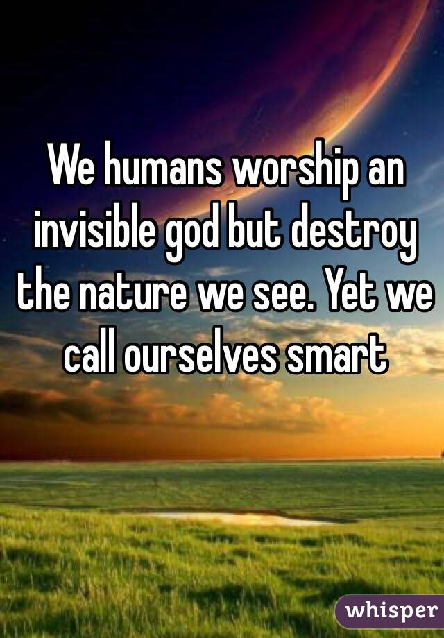 We humans worship an invisible god but destroy the nature we see. Yet we call ourselves smart