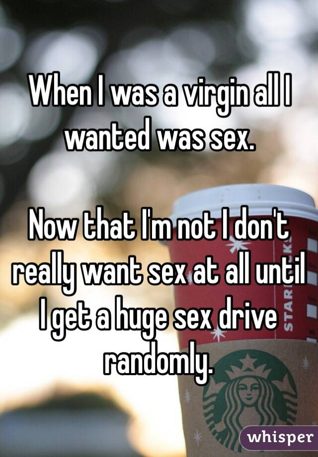 When I was a virgin all I wanted was sex.   Now that I'm not I don't really want sex at all until I get a huge sex drive randomly.