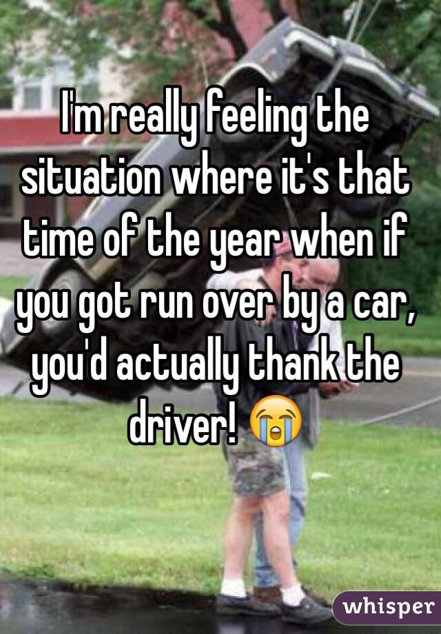 I'm really feeling the situation where it's that time of the year when if you got run over by a car, you'd actually thank the driver! 😭
