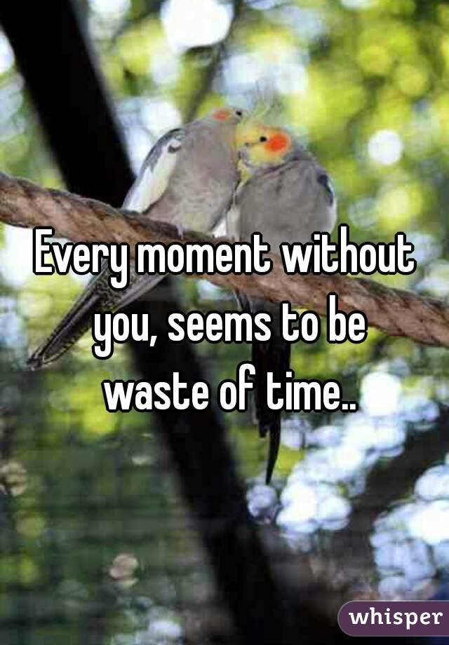 Every moment without you, seems to be  waste of time..