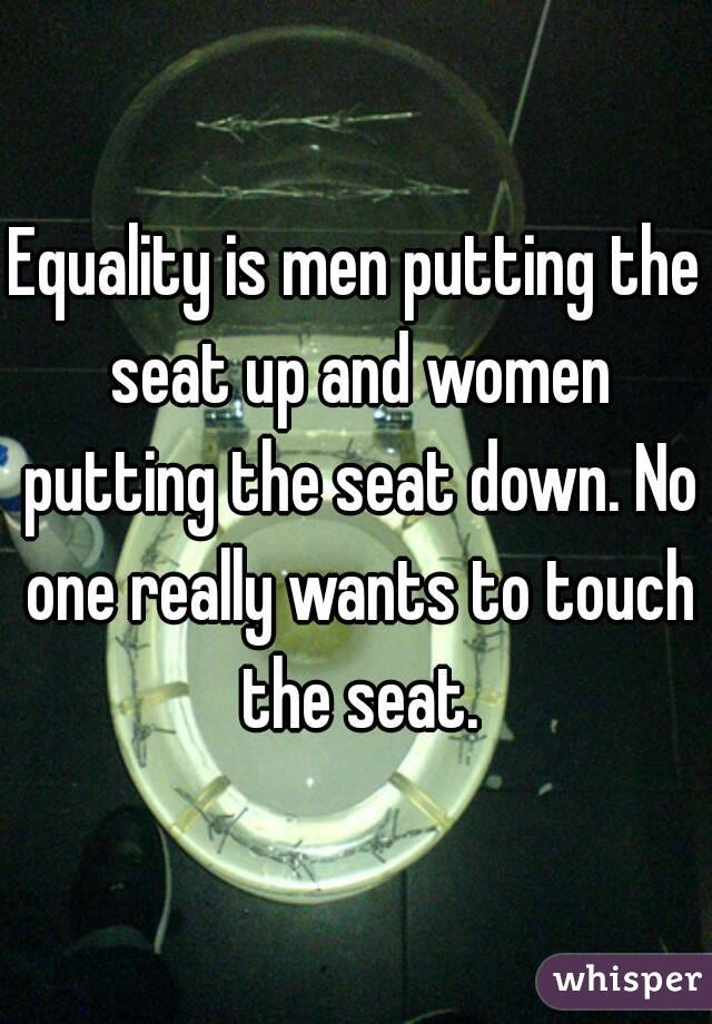 Equality is men putting the seat up and women putting the seat down. No one really wants to touch the seat.