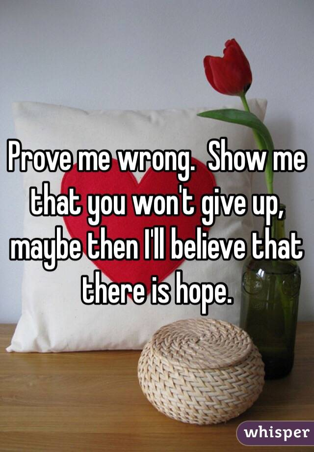 Prove me wrong.  Show me that you won't give up, maybe then I'll believe that there is hope.