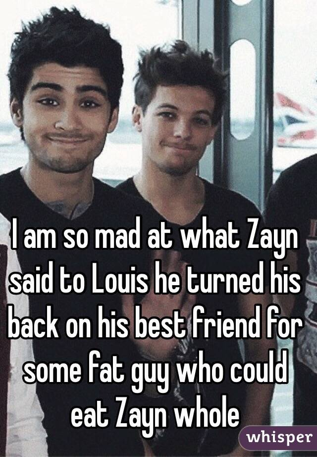 I am so mad at what Zayn said to Louis he turned his back on his best friend for some fat guy who could eat Zayn whole