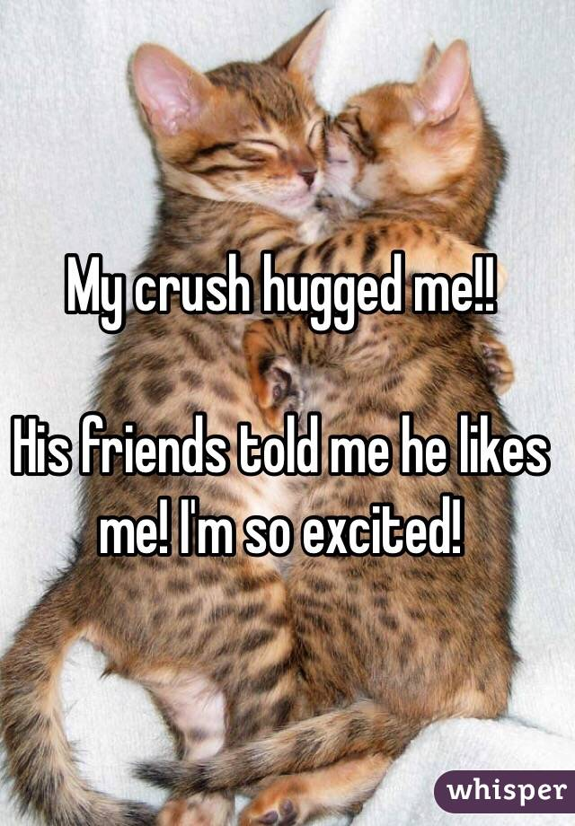 My crush hugged me!!   His friends told me he likes me! I'm so excited!