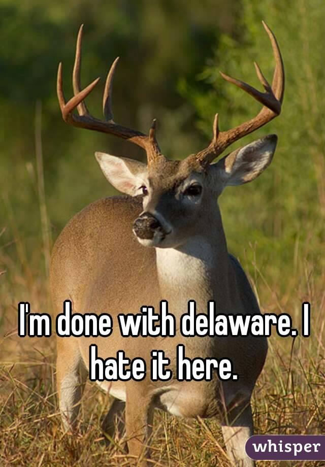 I'm done with delaware. I hate it here.