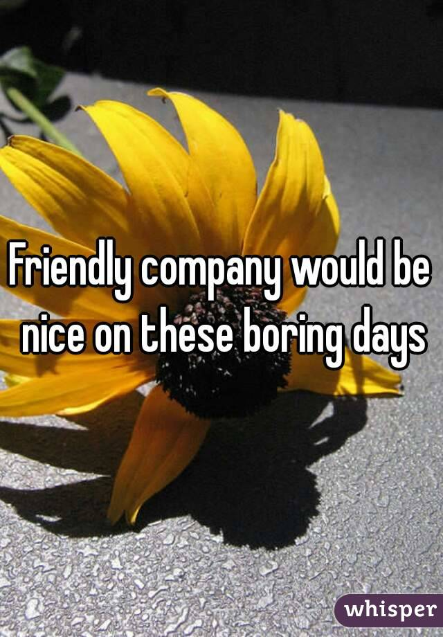 Friendly company would be nice on these boring days