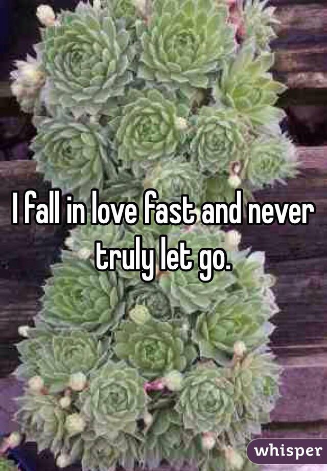 I fall in love fast and never truly let go.