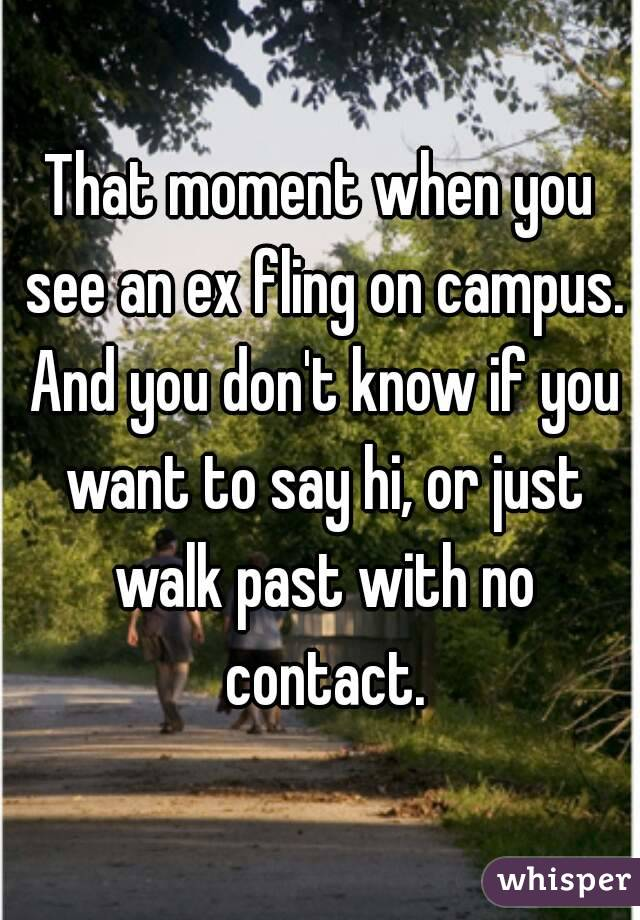 That moment when you see an ex fling on campus. And you don't know if you want to say hi, or just walk past with no contact.