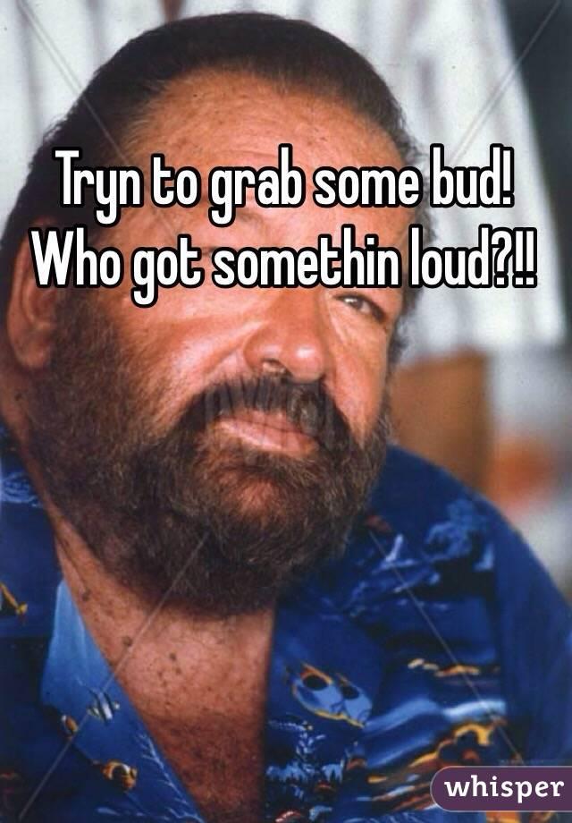 Tryn to grab some bud! Who got somethin loud?!!