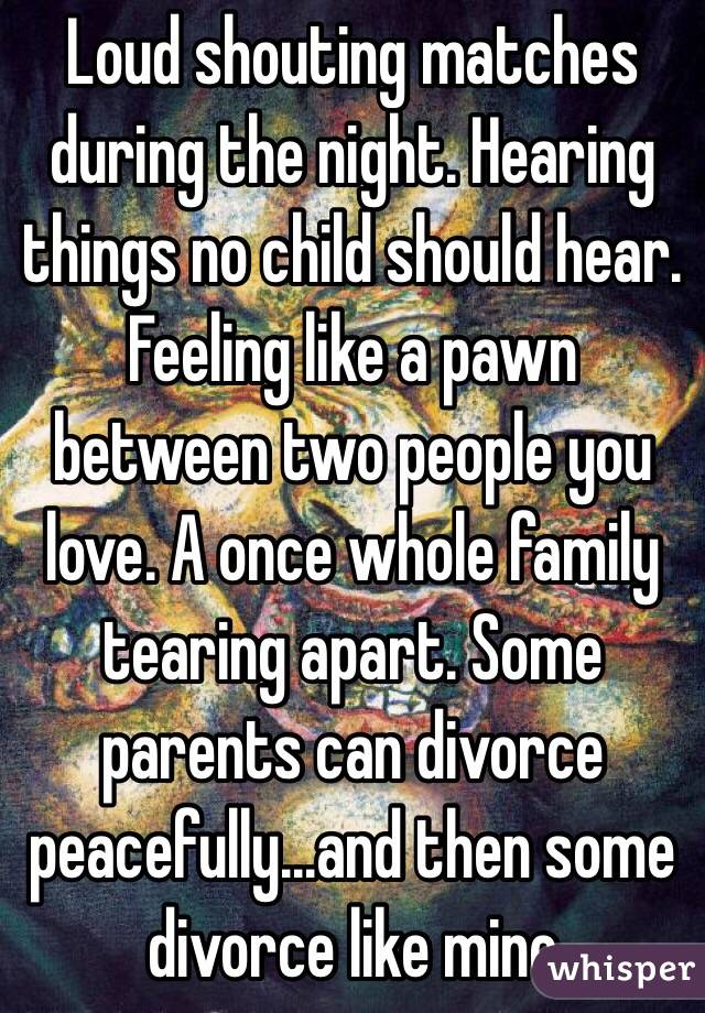 Loud shouting matches during the night. Hearing things no child should hear. Feeling like a pawn between two people you love. A once whole family tearing apart. Some parents can divorce peacefully...and then some divorce like mine