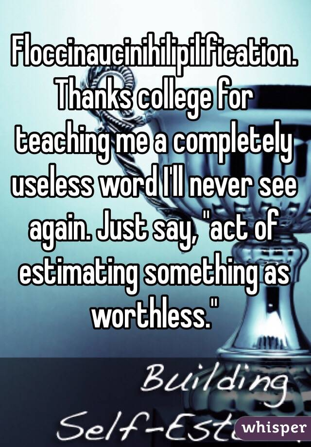 """Floccinaucinihilipilification. Thanks college for teaching me a completely useless word I'll never see again. Just say, """"act of estimating something as worthless."""""""