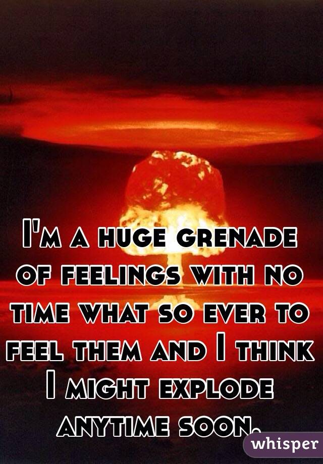 I'm a huge grenade of feelings with no time what so ever to feel them and I think I might explode anytime soon.