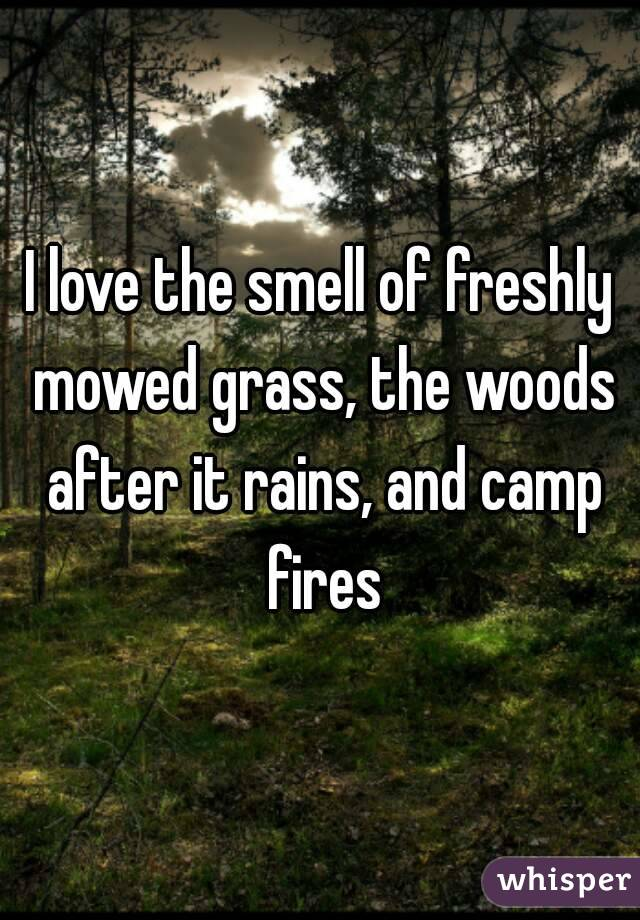 I love the smell of freshly mowed grass, the woods after it rains, and camp fires