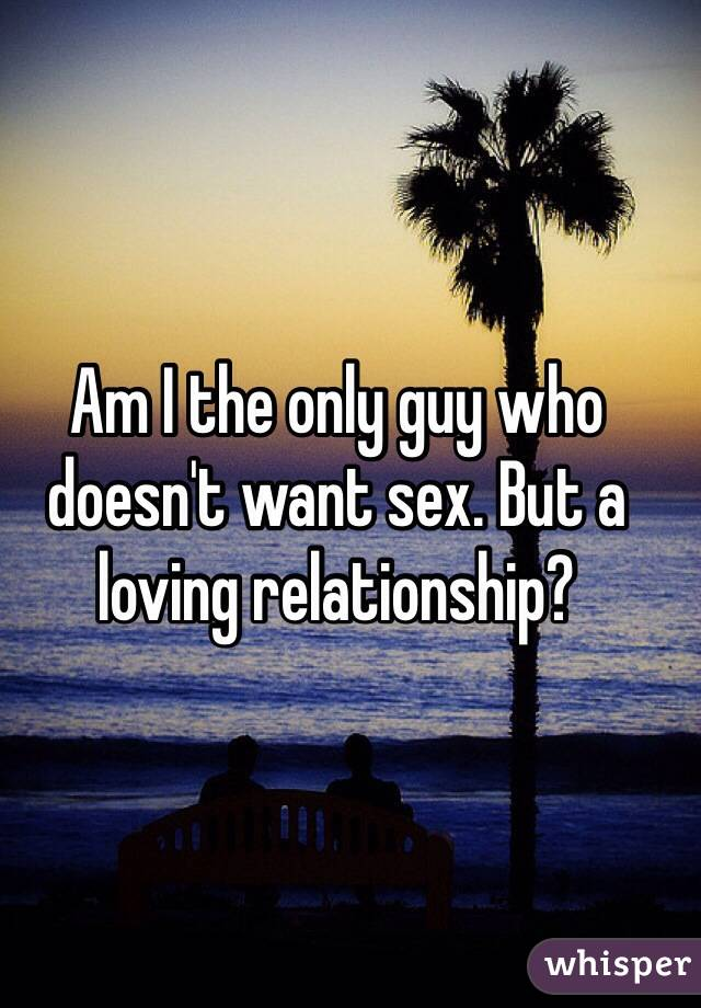 Am I the only guy who doesn't want sex. But a loving relationship?