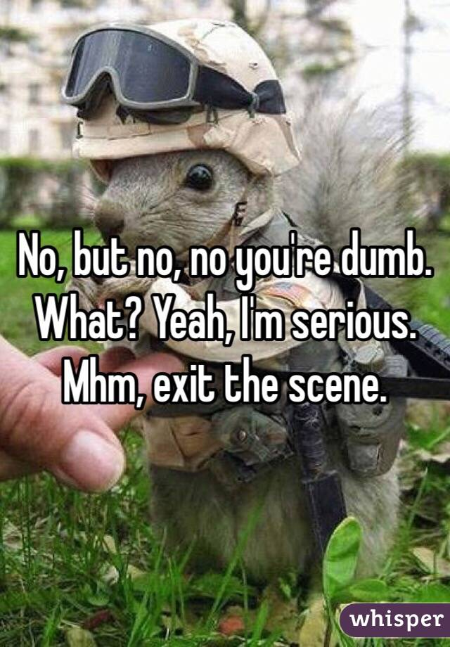 No, but no, no you're dumb. What? Yeah, I'm serious. Mhm, exit the scene.