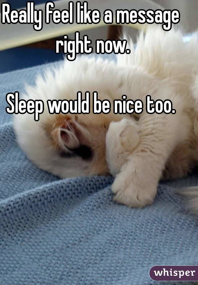 Really feel like a message right now.  Sleep would be nice too.