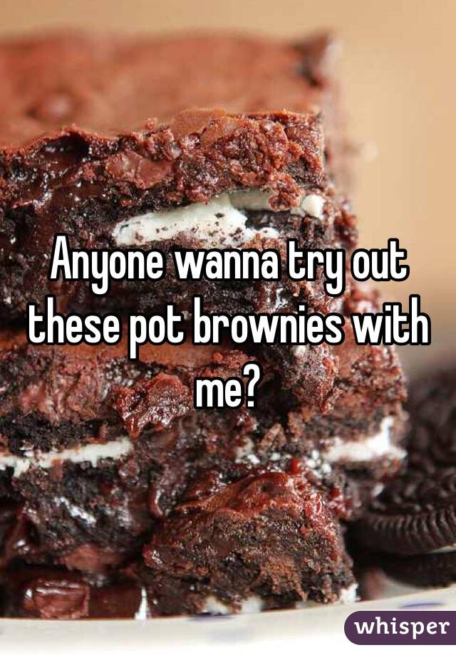 Anyone wanna try out these pot brownies with me?