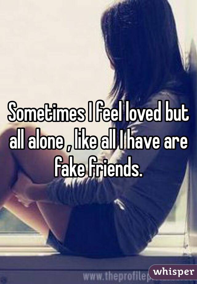 Sometimes I feel loved but all alone , like all I have are fake friends.