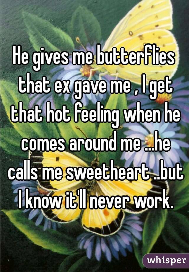 He gives me butterflies that ex gave me , I get that hot feeling when he comes around me ...he calls me sweetheart ..but I know it'll never work.