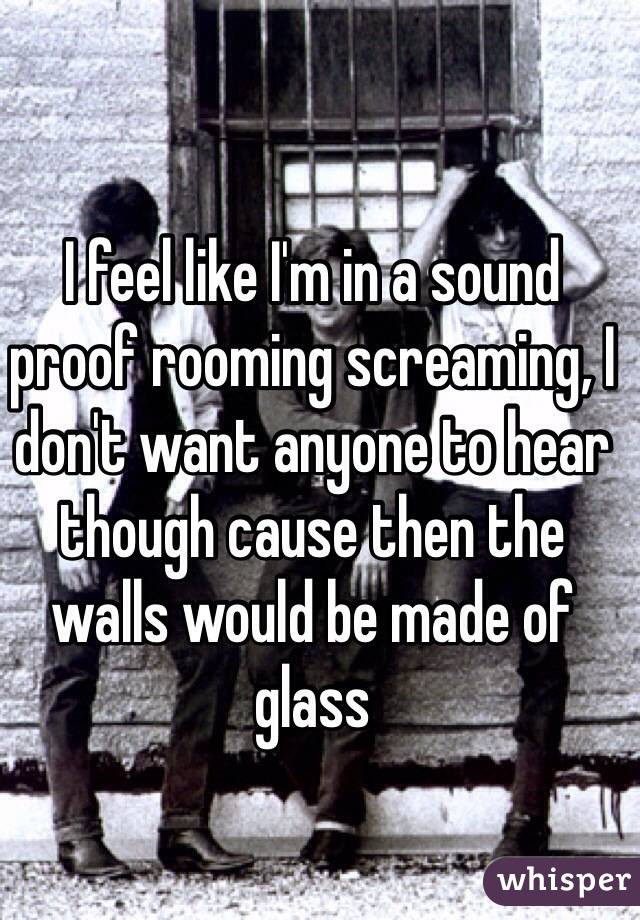 I feel like I'm in a sound proof rooming screaming, I don't want anyone to hear though cause then the walls would be made of glass