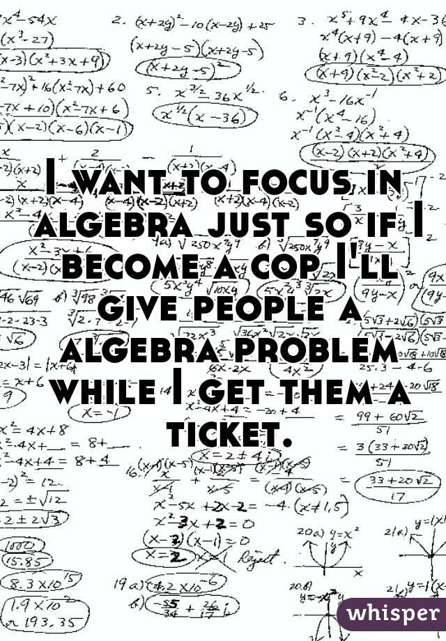 I want to focus in algebra just so if I become a cop I'll give people a algebra problem while I get them a ticket.