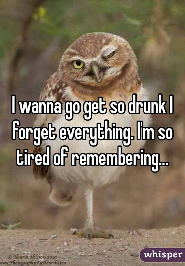 I wanna go get so drunk I forget everything. I'm so tired of remembering...