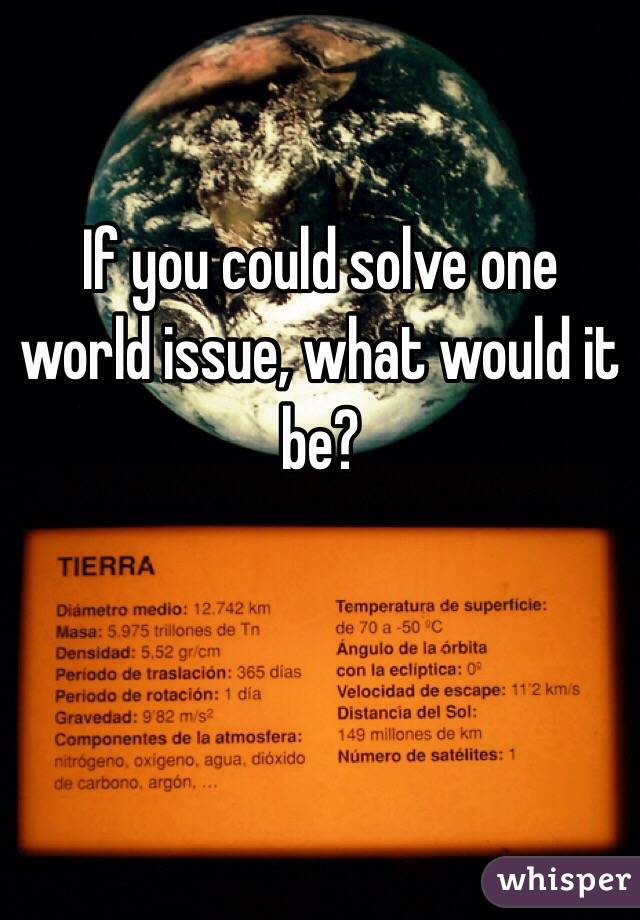 If you could solve one world issue, what would it be?