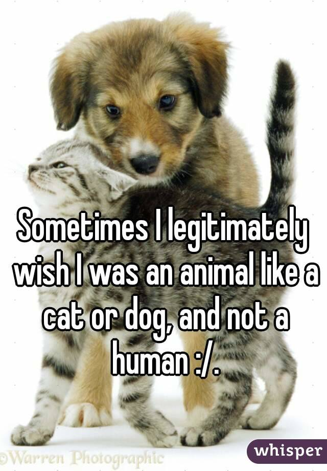Sometimes I legitimately wish I was an animal like a cat or dog, and not a human :/.