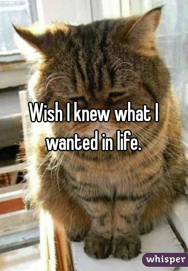 Wish I knew what I wanted in life.