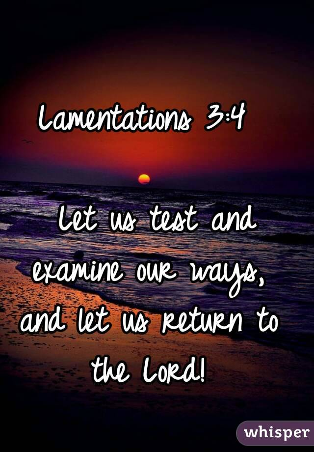 Lamentations 3:4    Let us test and examine our ways, and let us return to the Lord!