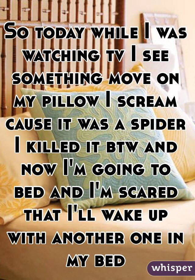 So today while I was watching tv I see something move on my pillow I scream cause it was a spider I killed it btw and now I'm going to bed and I'm scared that I'll wake up with another one in my bed